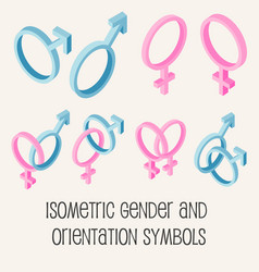 gender and sexual orientation isometric icons set vector image vector image