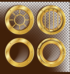 golden porthole metal window with rivets vector image