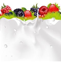 Milk Splash Background Fruit Berries And green vector image vector image