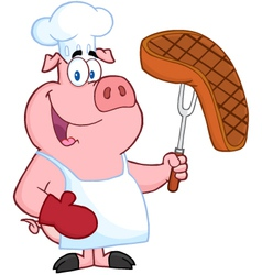 Pig Chef Holding A Fork With Roasted Steak vector image vector image