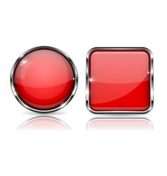 red buttons with chrome frame round and square vector image