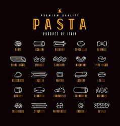 Set of icons varieties of pasta vector