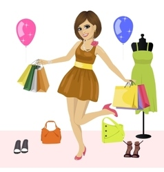 Young woman having fun with shopping bags vector image vector image