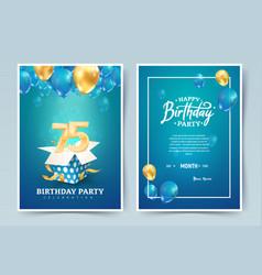 75th years birthday invitation double card vector
