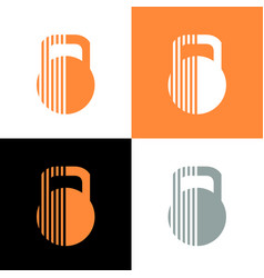 Abstract kettlebell icon design gym logo template vector