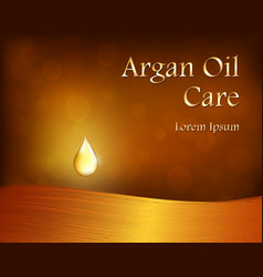 argan oil template with golden drop and hair vector image