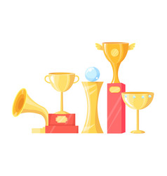Awards and trophy icons set vector