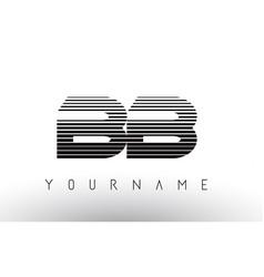 Bb black and white horizontal stripes letter logo vector