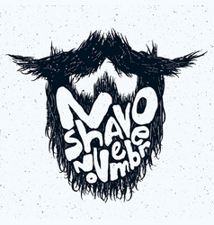 Beard silhouette with no shave november lettering vector