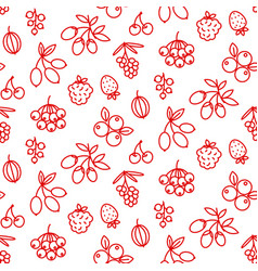 berries icon pattern superfood rosehip strawberry vector image