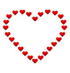 Big heart with small red hearts vector