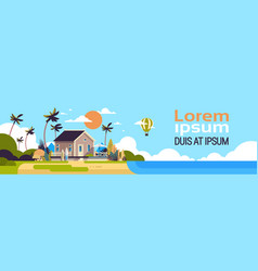 Big summer villa house air balloon surf board palm vector