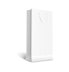 blank white paper gift bag mockup 3d vector image