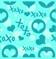 blue hearts and xoxo text with circles vector image