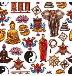 buddha yoga lotus yin yang seamless pattern vector image