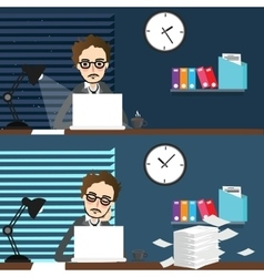 businessman working night and day over time work vector image