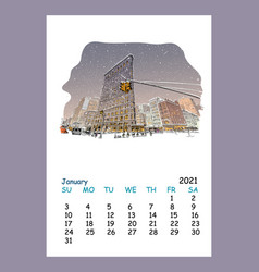 Calendar sheet january month 2021 year new york vector