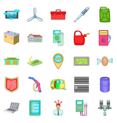 Car correction icons set cartoon style vector