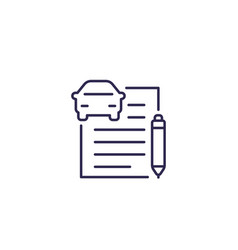 Car loan or auto insurance documents line icon vector