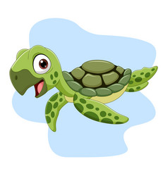 cartoon sea turtle swimming in ocean vector image