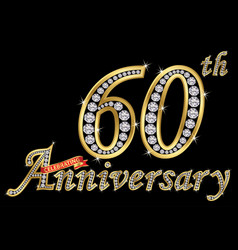 Celebrating 60th anniversary golden sign with vector
