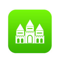 Children house castle icon digital green vector
