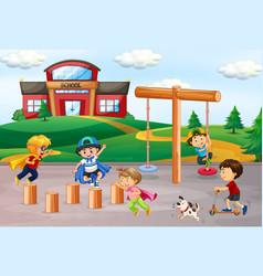 Children playing at school playground vector