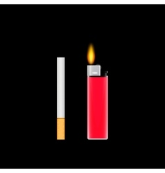 Cigarettes and cigarette lighter vector image