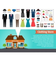 clothing store set clothes and building vector image