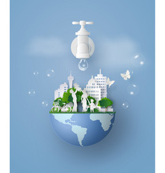 concept eco and wolrd water day with family vector image