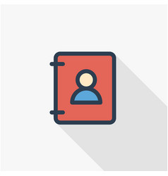 Contacts address book thin line flat color icon vector