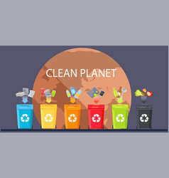 containers for different types waste waste vector image
