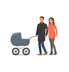 couple in love family with pram isolated vector image