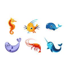 cute friendly sea creatures set colorful adorable vector image