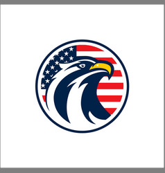 design badge circle with eagle and american vector image
