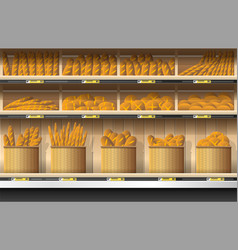 Different kinds of bread display on shelf vector
