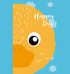 Duck cute animal cartoon card vector