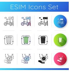 eco friendly city icons set vector image