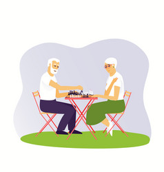 Elderly man and woman are playing chess vector