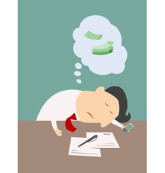 Exhausted businessman asleep at his desk vector image