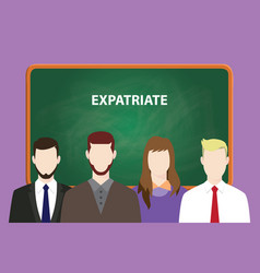 Expatriate white text on green chalk board vector