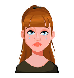 Face expression cute woman crying vector