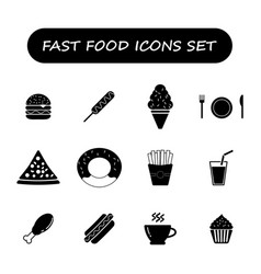 Fast food black and white icons set vector