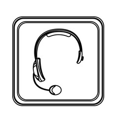 figure emblem headphone service icon vector image