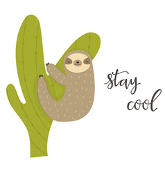 funny sloth climbing cactus adorable animal vector image
