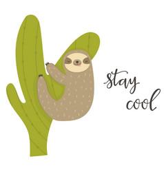Funny sloth climbing cactus adorable animal vector