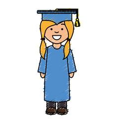 Girl graduated avatar character vector