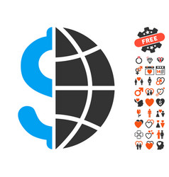 global business icon with love bonus vector image