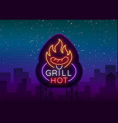 Grill logo in a neon style on vector