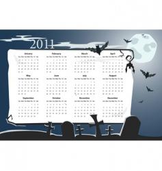 Halloween calendar 2011 with cemetery vector